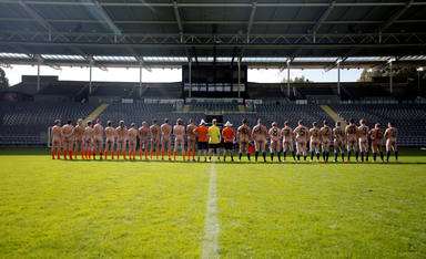 Naked footballers participate in a soccer match in Wuppertal