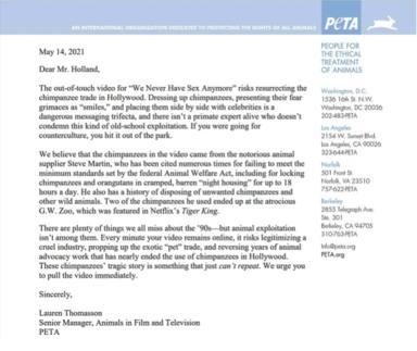 Carta PETA a The Offspring