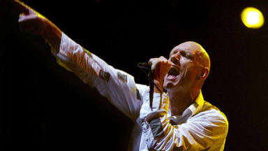Peter Garrett performing with Midnight Oil at the Wave Aid concert to raise mone
