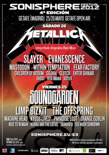 Sonisphere 2012 - Cartel completo